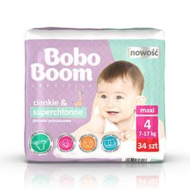 Bobo Boom Pieluszki jednorazowe 4 maxi 7-17 kg 34 sztuki