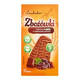 Conchador Zbożówki Ciastka z 5 zbóż z czekoladą i kakao 300 g (6 x 4 sztuki)
