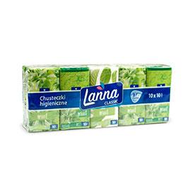 Lanna Classic Chusteczki higieniczne 3-warstwowe o zapachu miętowym 10 x 10 sztuk