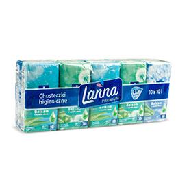 Lanna Premium Chusteczki higieniczne balsam o zapachu aloesu 10 x 10 sztuk