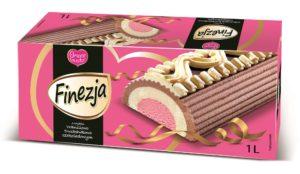 Amore Gusto Finezja lody rolada o smaku waniliowo-truskawkowo-czekoladowym 1L