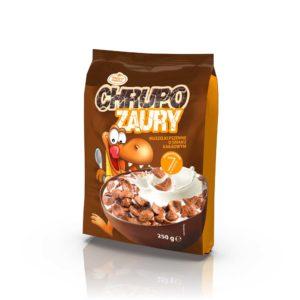 Chrupozaury Muszelki pszenne o smaku kakaowym 250 g