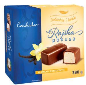 Conchador Rajska Pokusa Pianka o smaku waniliowym w czekoladzie 380 g