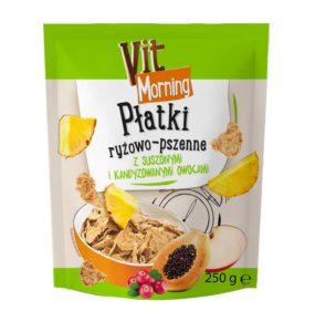 Vit Morning Płatki ryżowo-pszenne z suszonymi kandyzowanymi owocami 250 g